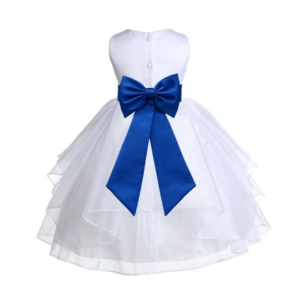 Ekidsbridal White Royal Shimmering Organza Christmas Bridesmaid Recital Easter Holiday Wedding Pageant Communion Princess Birthday Clothing Baptism 4613T size 12-18 month Flower Girl Dress