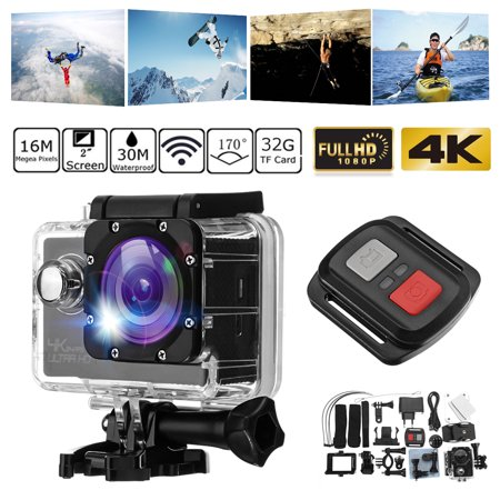 2'' 4K 1080P HD 170° Sports Action Camera Waterproof Wifi Camcorder Set &