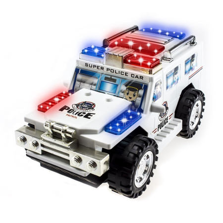 TECHEGE Police Car Toddler Toys Bus for Kids with SUV Flashing Lights, Sirens, Moves - Toy Clearance