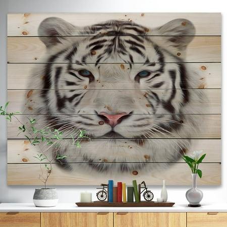 DESIGN ART Designart 'White Bengal Tiger' Animal Art Print on Natural Pine Wood - Black