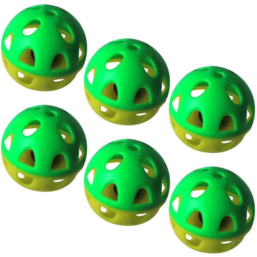 6-Pack 2-Tone Plastic Ball with Bell, Yellow/Green Pattern, 6 Pieces