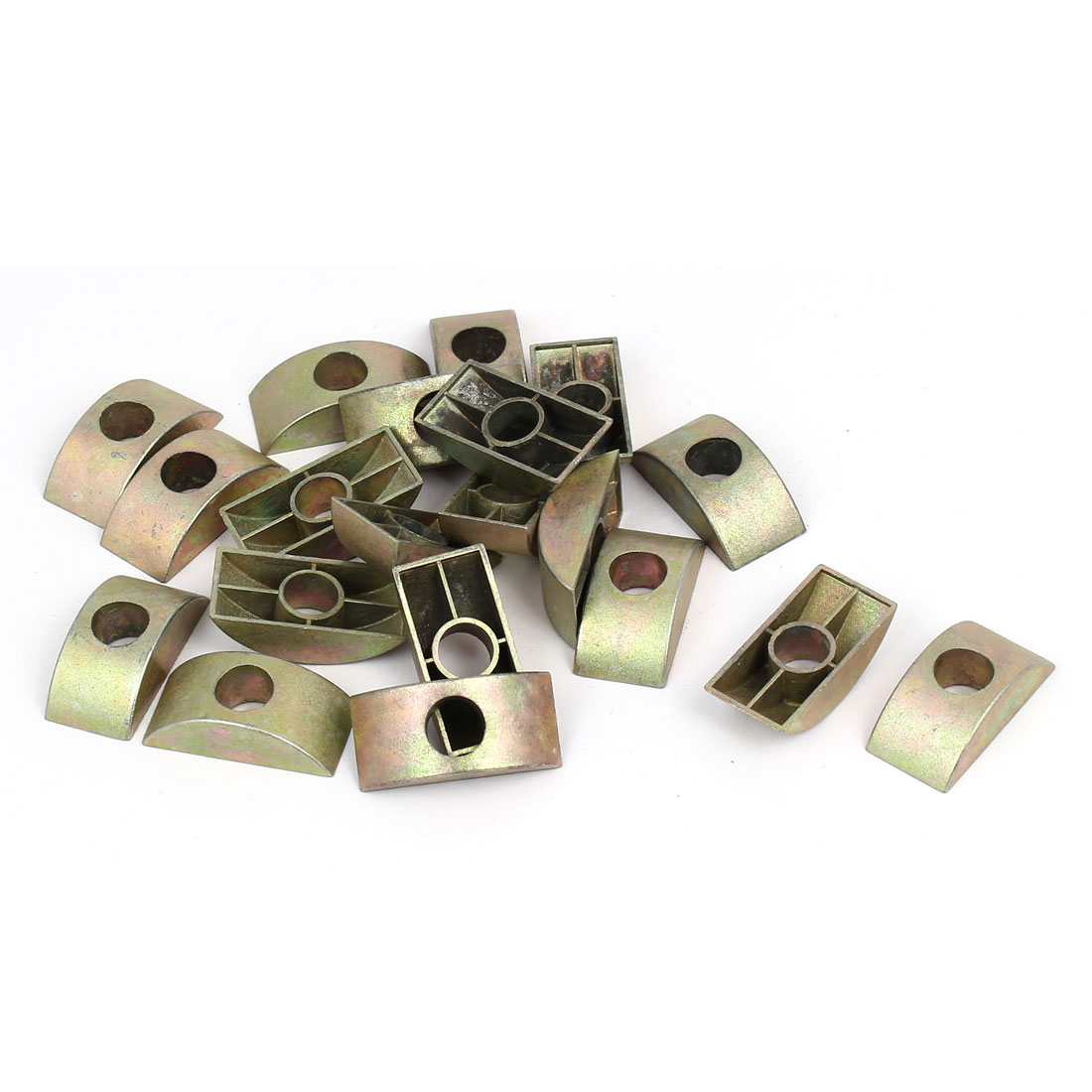 8mm Hole Dia Furniture Connector Half Moon Nuts Spacer Washer Bronze Tone 20PCS