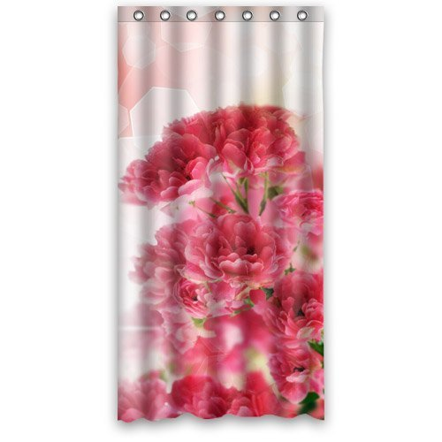 HelloDecor Flowers Red Carnation Pinks Shower Curtain Polyester Fabric Bathroom Decorative Curtain Size 36x72 Inches