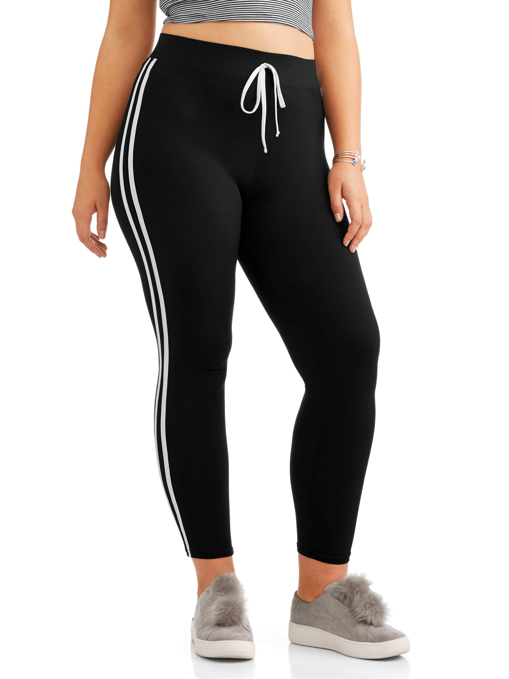 Juniors' Plus Size Leggings with Double Side Stripes and Tie Waist