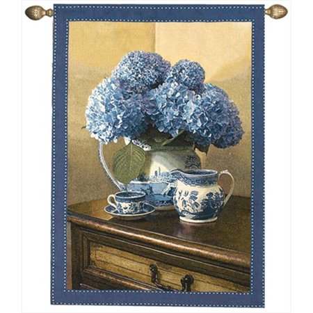 Manual Woodworkers and Weavers HWGBLU Blue Willow Tapestry Wall Hanging Vertical 35 X 47 in.