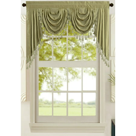 All American Collection New Attached Solid Faux Silk Double Waterfall Valance with Tails ()