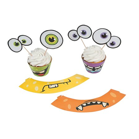 IN-13657256 Monster Cupcake Wrappers With Picks 100 Piece(s) (Easy Halloween And Thanksgiving Cupcake Decorating Ideas)