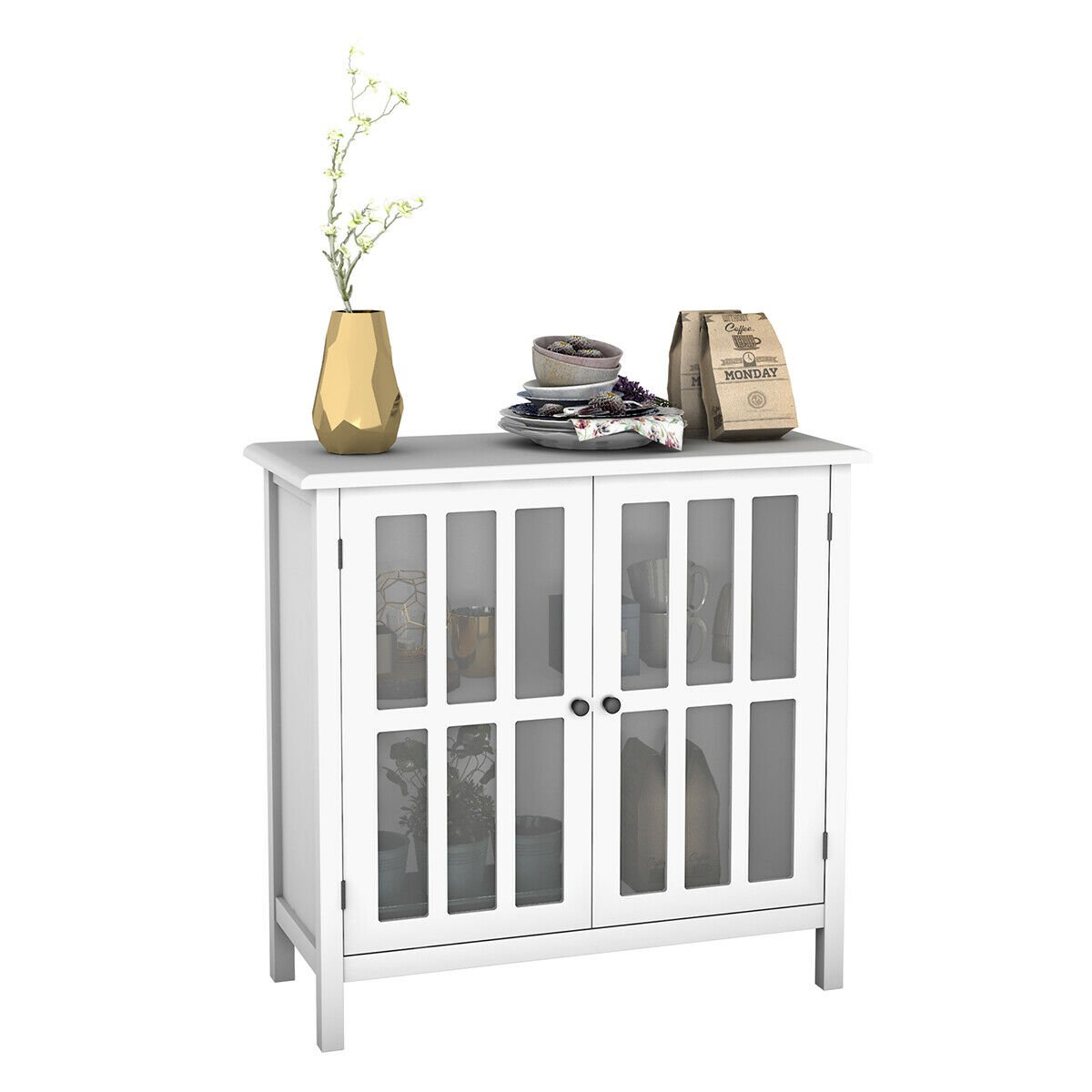Admirable Storage Buffet Cabinet Glass Door Sideboard Console Table Server Display Home Interior And Landscaping Fragforummapetitesourisinfo