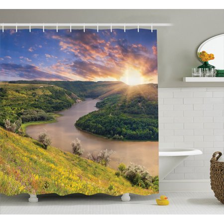Lake House Decor  Rising Sun Over Calm Riverbed With Lush Trees And Meadows Shrubs Hillside Cloudy Sky  Bathroom Accessories  69W X 84L Inches Extra Long  By Ambesonne
