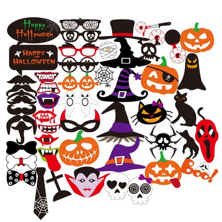 PBPBOX 52pcs Halloween Horror Photo  Skull Magic Hat Pumpkin Funny Beard  Costumes with Mustache On A Stick  Lips Hat Masks