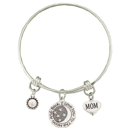 Mom Love You To The Moon Silver Wire Adjustable Bracelet Jewelry