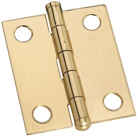 Stanley 803270 Decorative Button Tip Ornamental Cabinet Hinge, 6 Hole, 1-1/2 in L, Solid Brass
