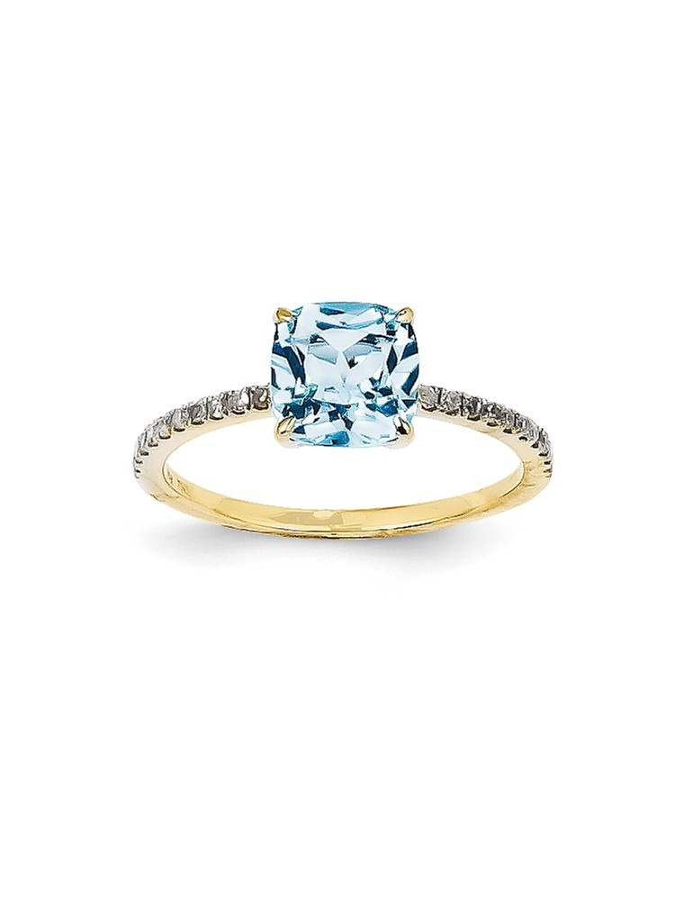 14K Yellow Gold (0.1cttw) Diamond and Blue Topaz Square Ring Size-7 by