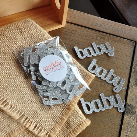 Glitter Silver Baby Confetti for Baby Shower Table Decoration 25CT.  Ships in 1-3 Business Days. - Baby Shower Confetti