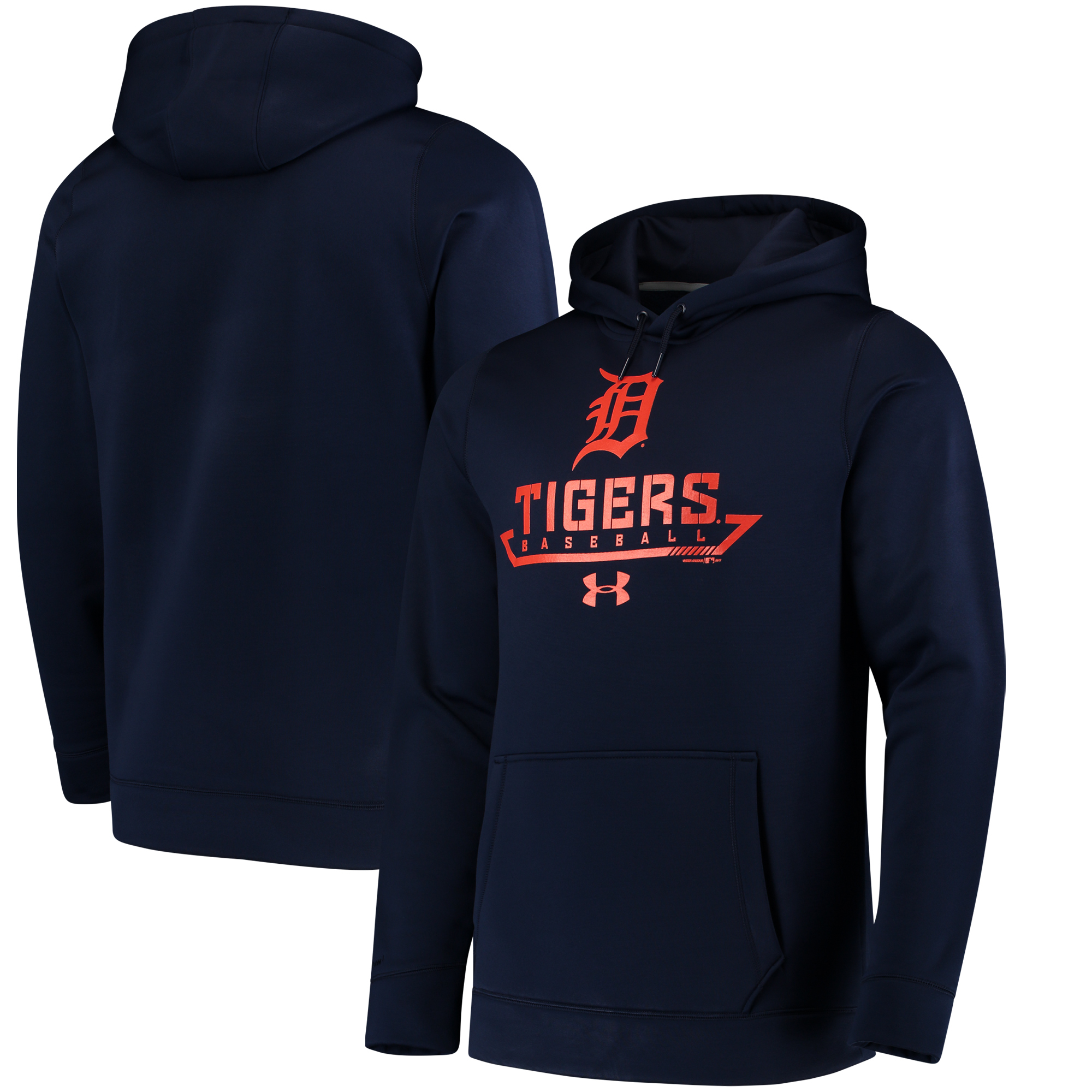 Detroit Tigers Under Armour Performance Fleece Pullover Hoodie - Navy