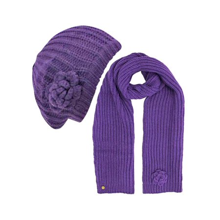Feminine Rosette Knit Beret Hat & Scarf Set - Diva Outfits