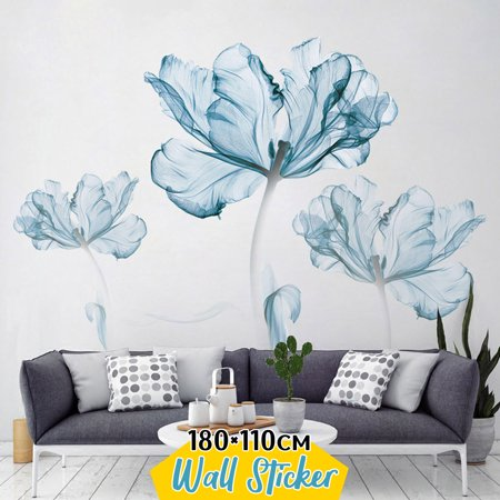 180x110cm Large Blue Flower Wall Stickers DIY Vinyl Decal Living Room Decor Art Mural Removable ()