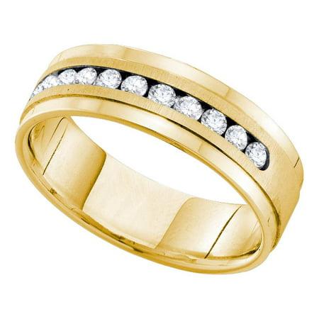 14k Mens Diamond Rings - 14kt Yellow Gold Mens Round Channel-set Diamond Single Row Wedding Band Ring 1.00 Cttw