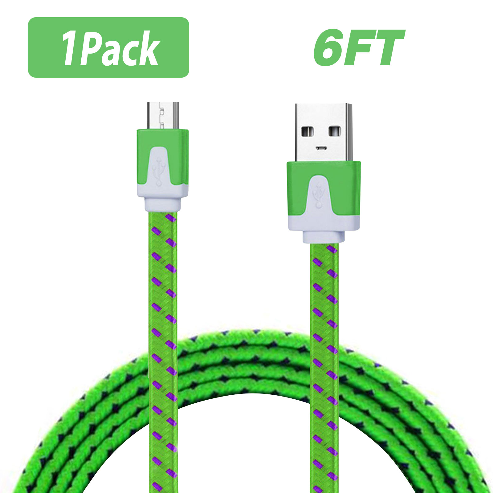 EEEkit 3/6-pack 6Ft Nylon Braided Micro USB Charging Sync Data Cable Charger Cord for Android Phones, Samsung Galaxy S7 S6/S5/Note 5,Tab A/E/S, LG G4/G3/G2/K5/K7/K8, HTC