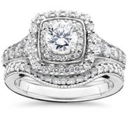 Bliss 14k White Gold 1 5/ 8ct TDW Double Halo Vintage Engagement Wedding Ring Set