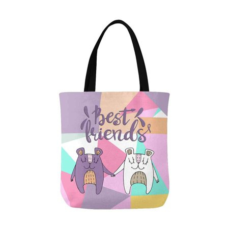 ASHLEIGH Funny Bears with Best Friends Quotes Canvas Tote Bags Reusable Shopping Bags Grocery Bags Washable Bags for Women Men