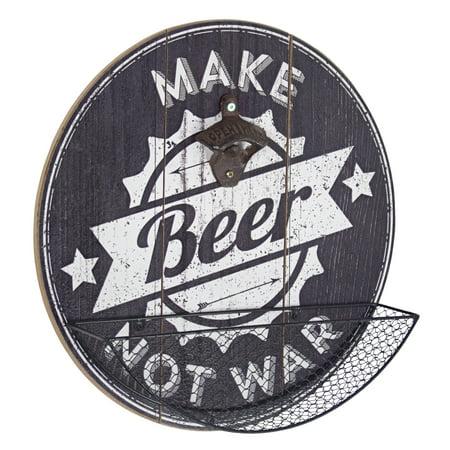 Art Bottle Cap (American Art Decor Make Beer Not War Bottle Opener and Cap Catcher )