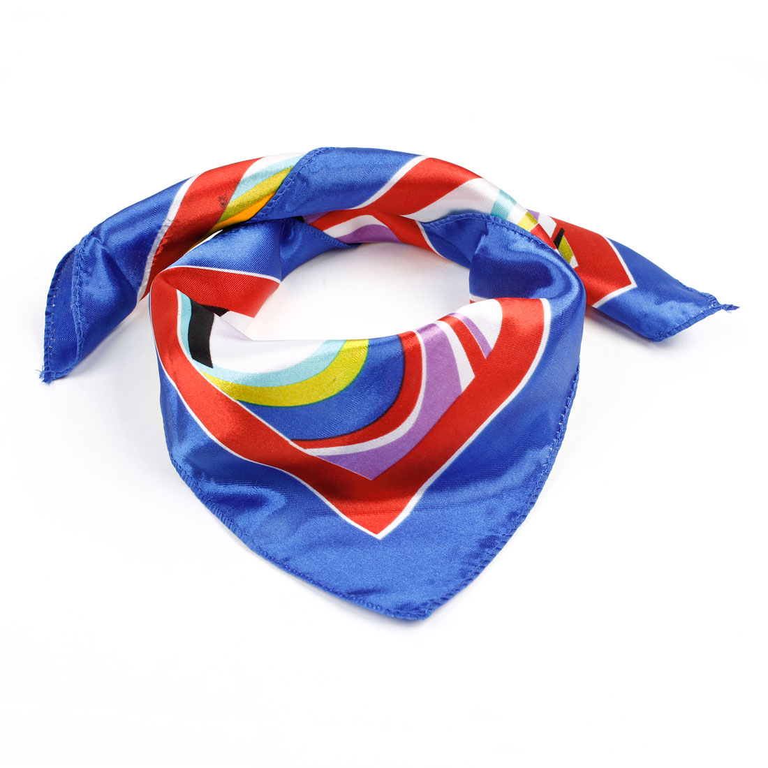 Lady Stripe Printed Red Blue Polyester Neckerchief Scarf Bandelet