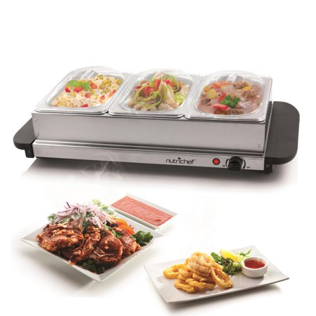 NutriChef PKBFWM33 - Food Warming Tray / Buffet Server / Hot Plate (Non Hot Plug Server)