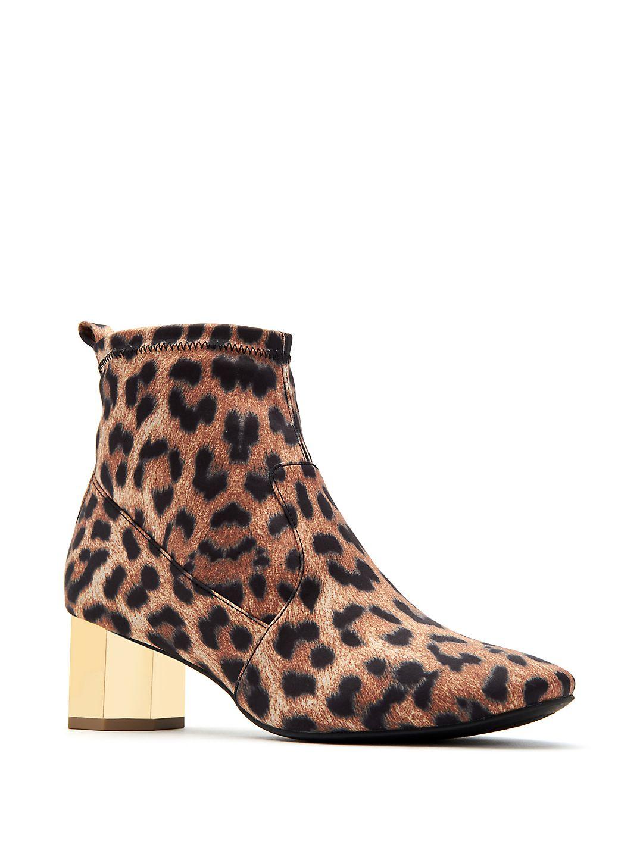 Daina Leopard Print Satin Booties