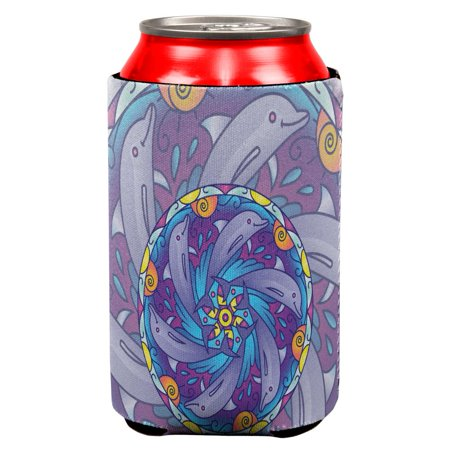 Mandala Trippy Stained Glass Dolphins All Over Can Cooler