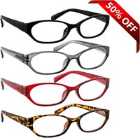 Tuvision Readers Unisex +1.50 Reading Glasses, Black/Gray/Red/Tortoise, 4 Pack