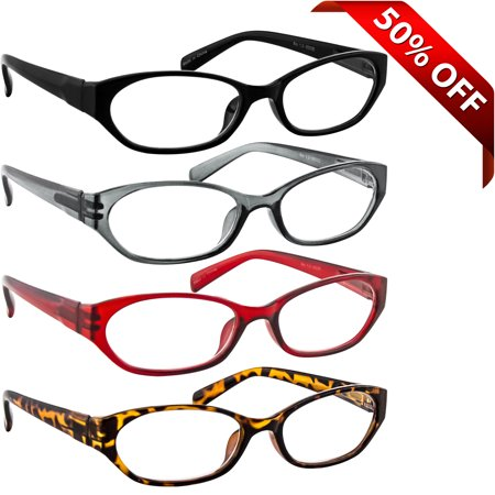 Oval Reader (Reading Glasses +1.50 | 4 Pack of Readers for Men and Women | Black Gray Red Tortoise )