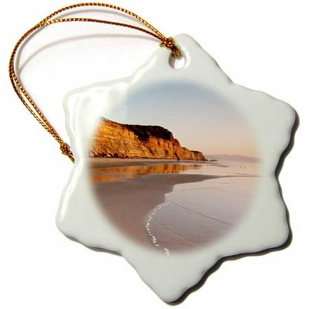 3dRose California, La Jolla. Low tide, Torrey Pines State Beach - Snowflake Ornament, (Torrey Pines Golf Course La Jolla Ca)