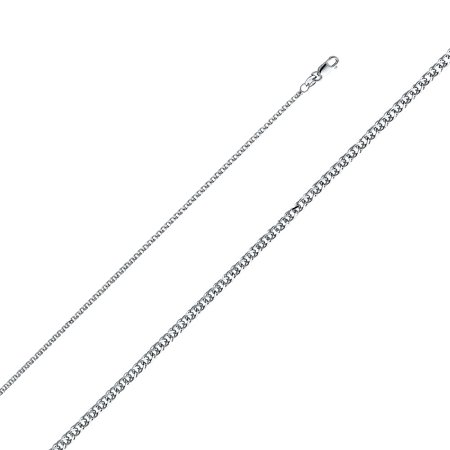 14k Solid Italian White Gold 1.7 mm Flat Open Wheat Link Chain Necklace 14k White Gold Flat Link