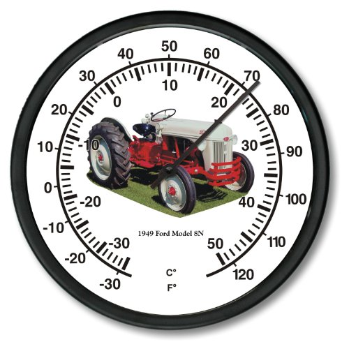 """New 1949 Vintage Grey & Red Ford Farm Tractor Model 8N Tractor Wall Thermometer 10"""" Round"""