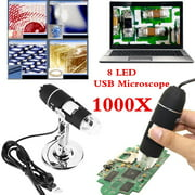 Tbest 1000X Zoom 8 LED USB Microscope Digital Magnifier Endoscope Camera Video with Stand,  8 LED USB Microscope, USB Digital Microscope
