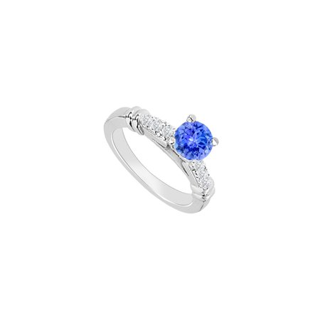 14K White Gold Created Tanzanite and Cubic Zirconia Engagement Ring with Wedding Band Set 0.75 C - image 6 de 6