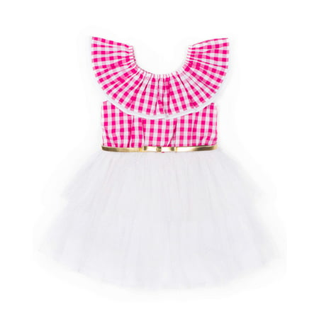 Gingham and Glitter Tulle Dress (Little Girls)](Glitter Dresses For Girls)