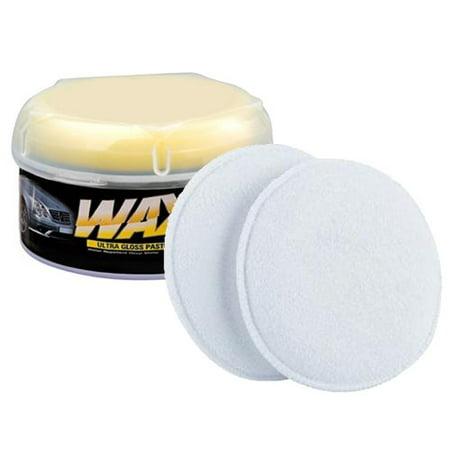 Wideskall® Car Wax Soft Ultra Gloss Polish Paste Wax w/ 2 Pcs  Microfiber Foam Applicator