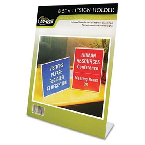 "Nu-dell One-piece Vertical Sign Holder - 8.50"" Width X 11"" Height - Acrylic - Clear (35485z)"