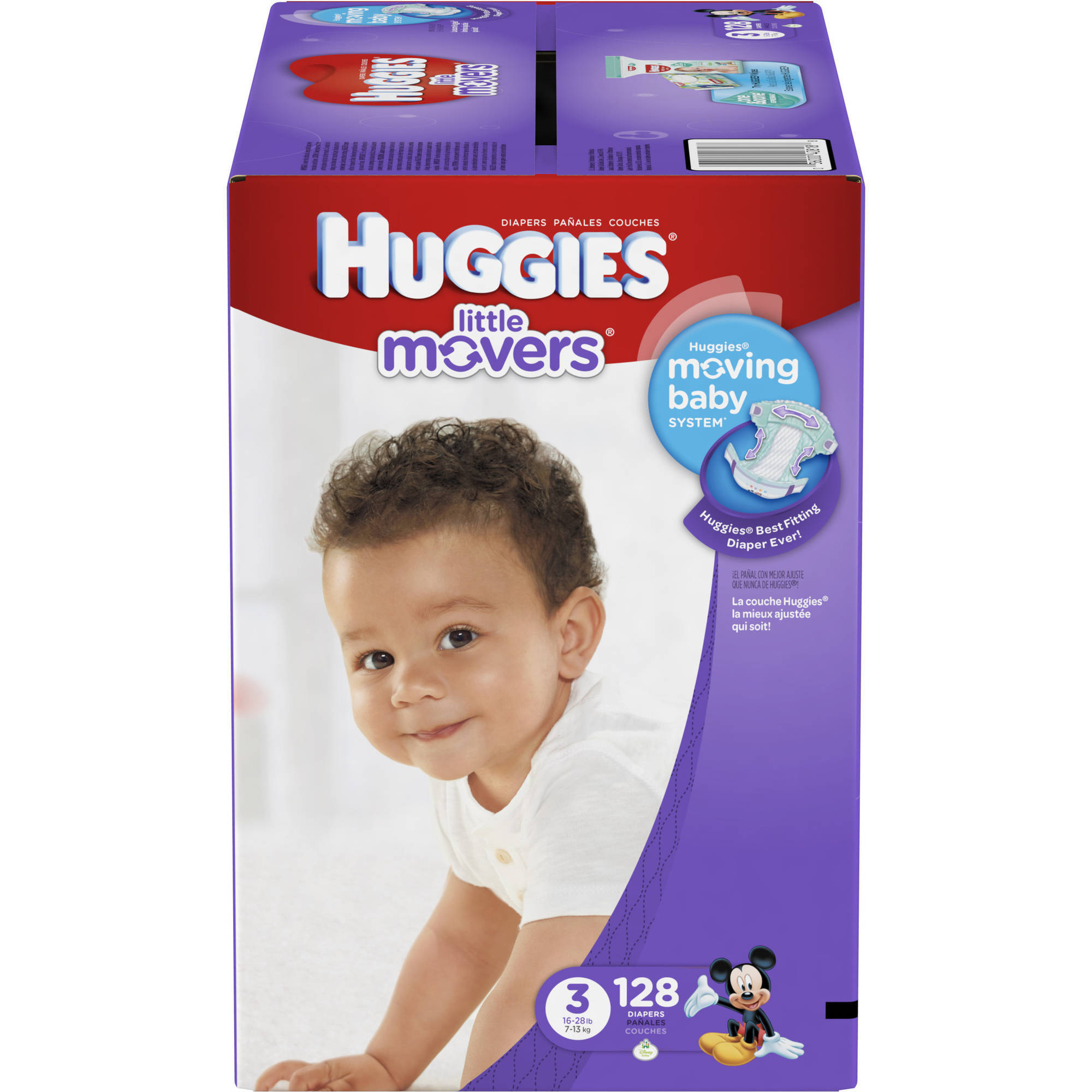 HUGGIES Little Movers Diapers, Size 3, 128 Diapers - Walmart.com