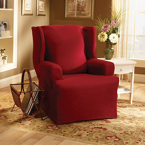 Sure Fit Cotton Duck Wing Chair Slipcover   Walmart.com