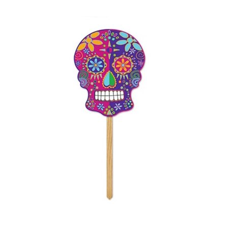 Pack of 6 Multi-Colored Day of The Dead Yard Sign Halloween Decoration 11.5