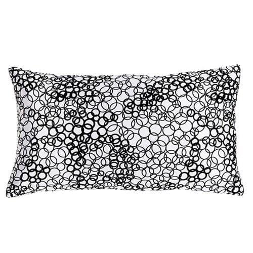 Jiti White & Black Faux Silk Rectangle Pillow