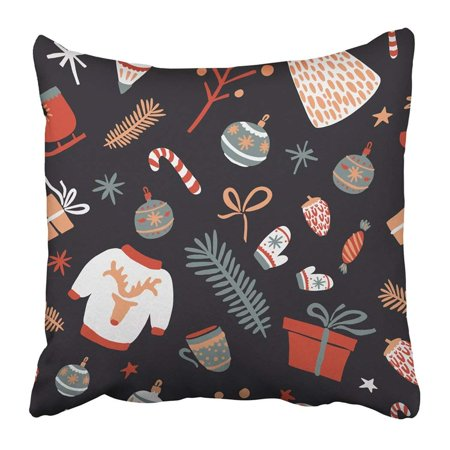 BPBOP Patterns Merry Christmas And Happy New Year Season Scandinavian Style Winter Holiday Pillowcase 16x16 inch ()