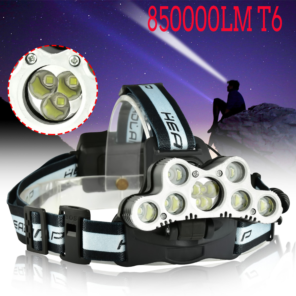 6000Lumens 9xT6 LED Waterproof Zoomable USB Rechargeable Headlight Headlamp with SOS Help Whistle 6 Modes For Camping Hiking
