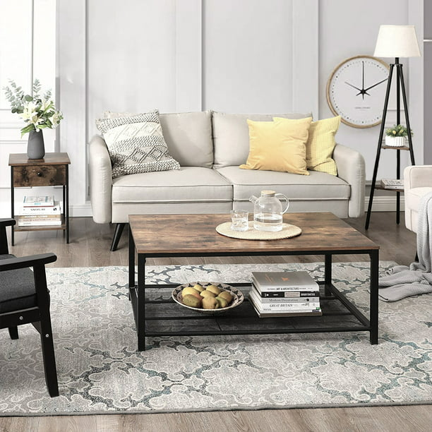 Industrial Coffee Table With Storage Shelf, Vintage Living Room Tables TV Shelf Sofa Side Tables, Heavy Duty Modern Coffee Table Farmhouse Furniture With Metal Frame, Solid Wood Tabletop, Q14301 - Walmart.com -