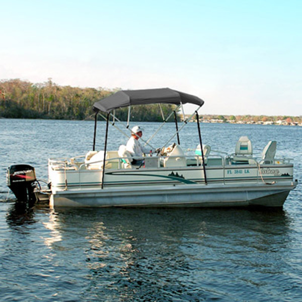 "4 Bow Bimini Top Boat Cover 61"" - 66"" Gray Pontoon Fishing 8 Foot Deck"