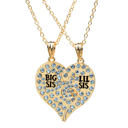 2-Pcs Big Sister Little Sister Necklace Silver Plated Anti-Tarnish Heart Crystal Pendant,Jew-214-G - 3 Sister Necklace