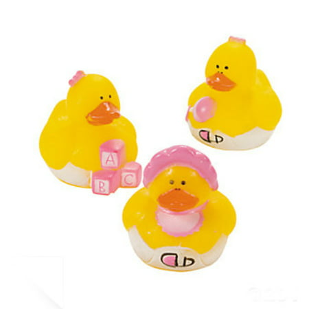 24 Mini Baby Girl Rubber Duck Duckys Pink Shower Favors - Rubber Duckies Baby Shower Decorations